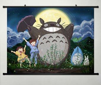 Diseño de mi Vecino Totoro diseño con texto en inglés de pared Póster de pintura 23,6 x 44,96 cm tela de desplazamiento -041