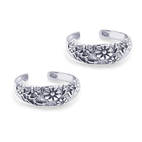 Peora 925 Sterling Silver Mod Flower Toe Rings for Women and Girls