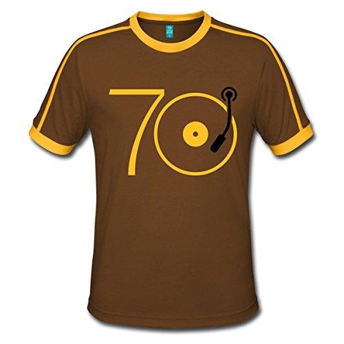 r 70er Platte Retro Männer Retro-T-Shirt, XL, Chocolate/Sun (70er Disco-shirts)