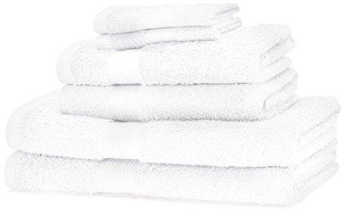 Amazonbasics - set di 2 asciugamani da bagno,2 asciugamani per le mani e 2 asciguamani da bidet che non sbiadiscono, colore bianco candido