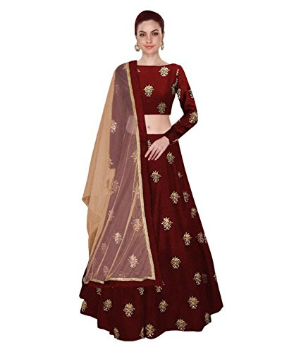 Ziyaan Maroon Partywear Embroidered banglori Silk Semi-Stitched Lehenga-Unsitched Choli With Net Dupatta