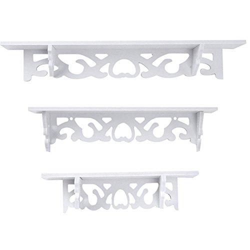 TOPmountain Mensole galleggianti stile chic 1 set Scaffale decorativo per esposizione a parete Scaffali di stoccaggio Scaffali a muro di design unici bianca