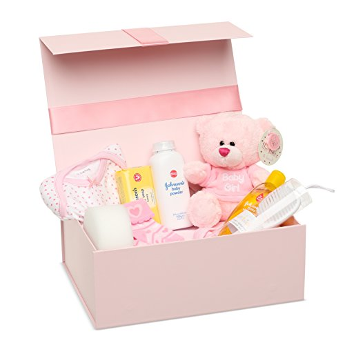 Newborn Baby Girl Gift Box – Baby Clothes, Teddy Bear and Gifts in a Pink Keepsake Memory Box Beautifully Arranged by Baby Box Shop