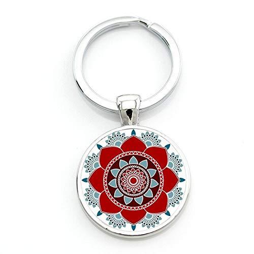 Schlüsselanhänger cabochon Mandala Geschenk-Idee Blume des Lebens Om Yoga Chakra (Cabochons Blumen)