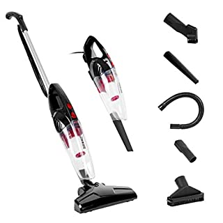 Duronic VC8/BK Stick Vacuum Cleaner | Energy Class A+ | HEPA Filter - Bagless | Black | 2-in-1: Converts from Upright Corded to Handheld Vac | Lightweight | Includes 4 attachments/brushes