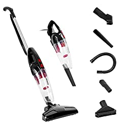 Duronic VC8/BK Stick Vacuum Cleaner | Energy Class A+ | HEPA Filter - Bagless | Black | 2-in-1: Converts from Upright Corded to Handheld Vac | Lightweight | Includes 4 attachments | brushes