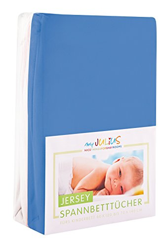 Julius Zöllner Jersey Spannbetttuch Doppelpack für das Kinderbett, Gr. 60x120 / 70x140, blau & weiß