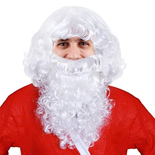 Unomor Weihnachtsmann Bart und Perücke Set Santa Claus Nikolaus Kostüm ()