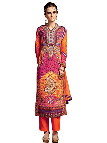 Varayu Women's Crepe Dress Material (211DJ5111_Free Size_Orange)