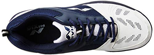 Nivia Caribbean Cricket Shoes, Men's 11 UK (White/Blue)