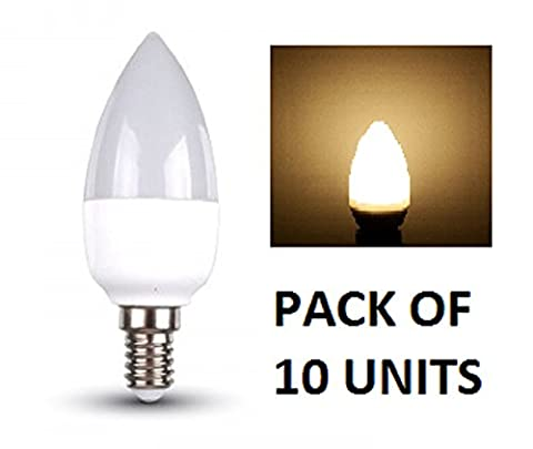 V-TAC LED Bougie Ampoules–Lot de 10unités–Blanc chaud 2700K–E14à petite vis type de base ses Fixations/470lumens de sortie–Puissance 6W/Faisceau 200°/vie 20000heures/non dimmable/SKU: 4215