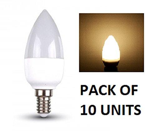 V-TAC LED lampadine a candela, confezione da 10Unità, Bianco caldo 2700K-Raccordi a vite piccolo E14SES tipo di base/altezza 470lumen, 6W/200gradi, durata: fino a 20.000ore/Non dimmerabile/SKU: 4215