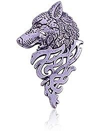 Pendientes de metal con diseño de lobo retro