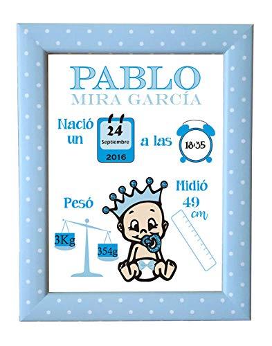 Lámina Nacimiento Personalizada datos Bebe - Regalo