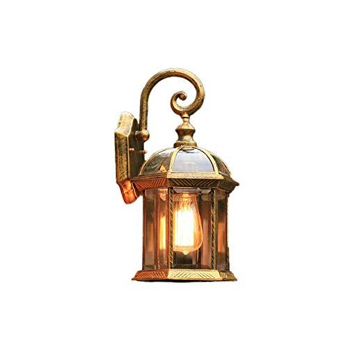 Mittelmeeraußenwand-Laternen-Dachboden-transparente Glaswand-Licht-Wandlampen Retro- industrielle Wandlampe für Flur (Color : Bronze)