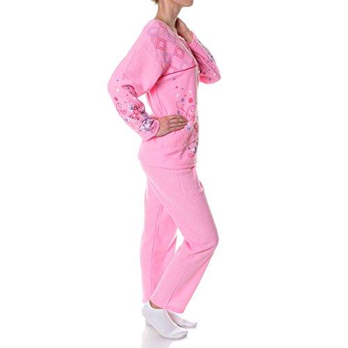 Damen Pyjama Nachthemd Nachtwäsche Schlafanzug Set Langarm 21695 Rosa