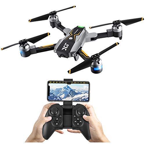 Atoycasa Drone con Telecamera Video, FPV RC Drone GPS 720P HD Wi-Fi Telecamera 2.4GHz 6-ASSE Gyro Quadcopter Mobile Controllo Grandangolare Selfie Drone Camera Seguimi modalità Attesa in Altitudine