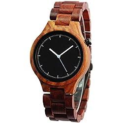 NectaRoy Round Red Sandalwood Wooden Wristwatch Natural Sandal Wood Wrist Watch Japanese Quartz Movement Watch with Wooden Watch Band Bracelet Strap