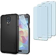 Spigen - Conjunto de carcasa negra + 3 protectores de pantalla para Samsung Galaxy S5