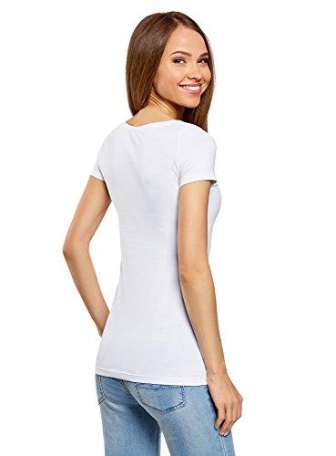 oodji Ultra Damen Tailliertes T-Shirt Basic (5er-Pack) Weiß (1000N