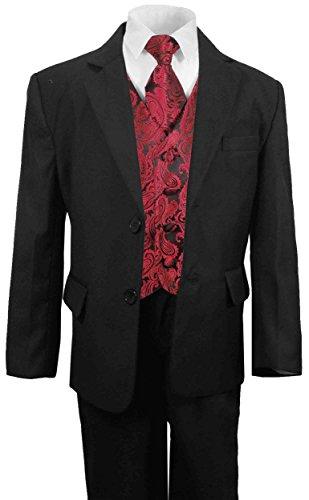 Paul Malone festlicher Jungen Anzug (tailliert) schwarz mit festlichem Westenset schwarz rot paisley