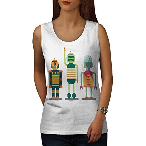 Roboter Komisch Junkie Geek Kind Spaß Leben Damen S-2XL Muskelshirt   Wellcoda Weiß