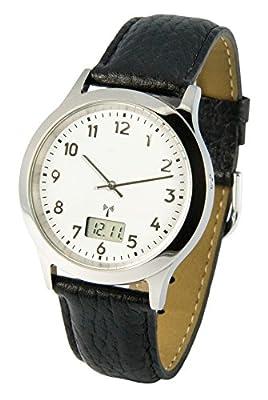 Elegante Hombres del reloj–Movimiento Negro Correa de piel caja de acero inoxidable 964.6113 de Marquis