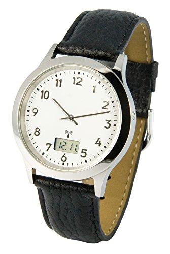 Reloj para hombre Marqués, tecnología de radiofrecuencia alemana, correa de piel negra, caja de acero inoxidable 983.6113