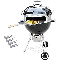 Onlyfire BRK-6023 INOX Pizza Four kit Ensemble Complet PizzaRing pour Weber 57 cm Bouilloire Grill et Beaucoup d'Autres modèles, Pizza au Grill à Charbon de Bouilloire