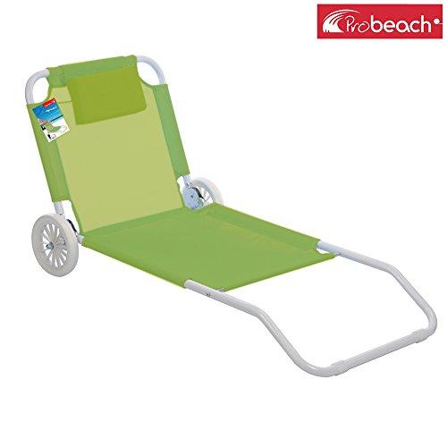 Pro beach lettino pieghevole spiaggina con ruote verde (