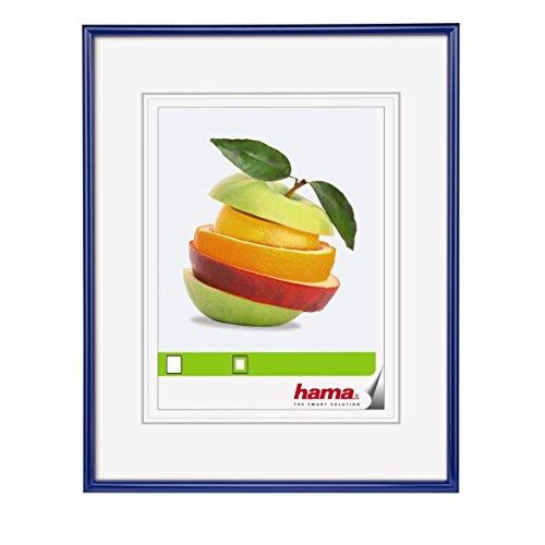 """Hama Bilderrahmen """"Sevilla"""", 30 x 40 cm, mit Papier-Passepartout 20 x 27 cm, hochwertiges Glas, Kunststoff Rahmen, zum Aufhängen, blau"""