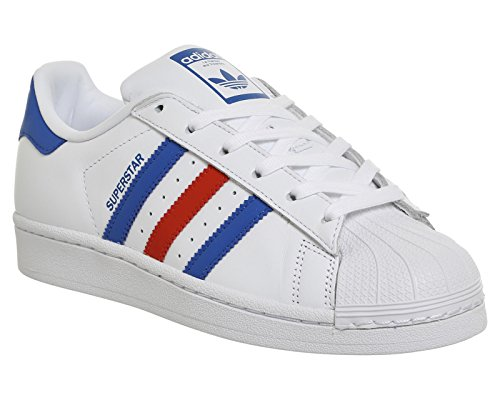adidas SUPERSTAR S75880 Unisex - adulto Scarpe sportive White/Blue/Red