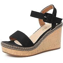 2adff171b1a4 ❤Sandales Compensées Femme,Xinan Sandales Talon Compensé Chaussures Tongs Sandales  Talons Hauts Peep-