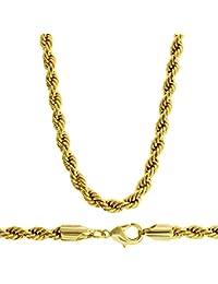 Cordón cadena - dorado de 24 quilates - collar para Hombre - Hip Hop Bling - brillante - 4 mm