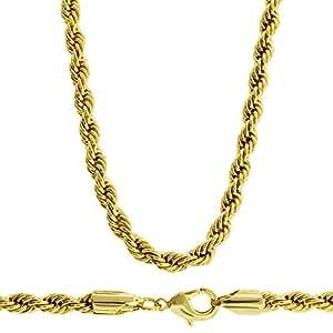 hip hop bling collana da uomo a cordoncino placcata in oro 24 carati diamantata 4 mm di. Black Bedroom Furniture Sets. Home Design Ideas