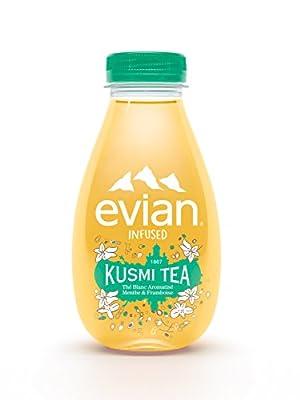 Evian Infused Kusmi Tea - Thé Blanc, Menthe, Framboise - Pack de 12 bouteilles de 37cl
