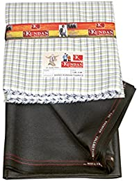 Kundan Sulz Gwalior Men's Executive Checks Shirt Piece & Fancy Trouser Fabric Combo Set ( 1 Pant And Shirt Piece )
