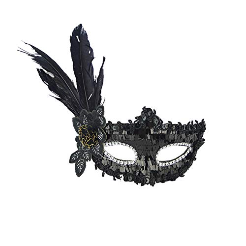 serliy Sexy Feather Pailletten Elegante Augenmaske Maskerade Ball Karneval Fancy Party Halloween Decor Familie Outfits Set Persönlichkeit Ski Radfahren Snowboard Schal Halswärmer ()