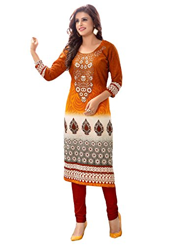 Salwar Studio Women's Mustard & Beige Cotton Floral, Paisley Printed Unstitched Kurti Fabric (only Kurti Fabric)  available at amazon for Rs.465