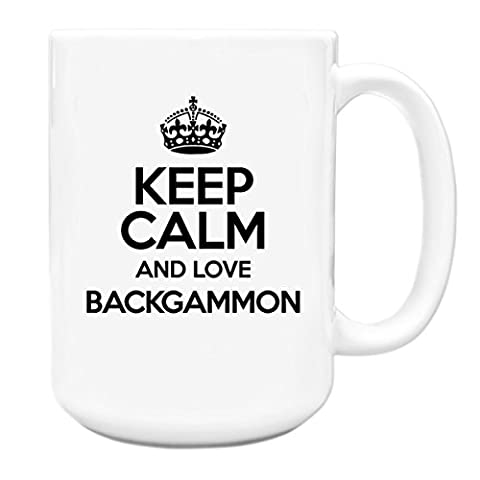 Noir Keep Calm and Love Backgammon Tasse Motif Big avec poignée TXT 0779