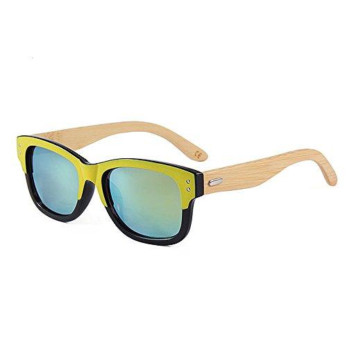 Einfache Brille Double Colour Retro Style Unisex-Erwachsene Bambus Sonnenbrille UV-Schutz Handmade für Männer Frauen (Farbe : Gold)