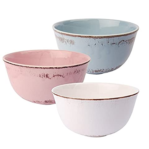 3er Set Müslischale Schüssel Schale im Shabby Chic Landhausstil Serie Tosca M in Rosé, Weiß und (Keramik Pasta Bowl)