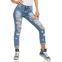 257c2c8fd1b380 Fashion4Young 5396 Damen Jeans Röhre Skinny Damenjeans Stretch Denim  Destroyed Cut-Outs Ankle