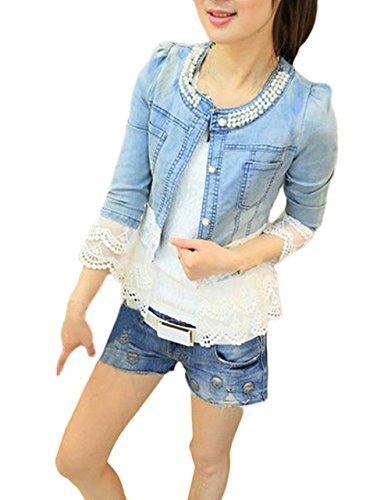 Jeans Damen Jacke Langarm Oversize Jeansjacke Spitze-Spleiß Mode Verziert  Mantel Für Mollige. ed03187b55