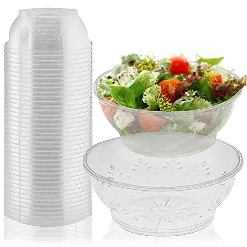 20 Elegante Klar Plastikschüsseln, 285 ml - Wiederverwendbar Suppenschüssel, Dessertschüsseln, Salatschüssel - Spülmaschinenfest, Robust & Stabil - Perfekt für Catering Partys Hochzeiten Geburtstage.
