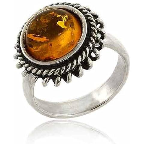 Rotondo, argento Sterling e vera ambra, 1 anello a fiore, motivo Starburst