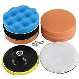 Sutekus, set da 8 pezzi per macchina lucidatrice per trapano elettrico, nastro magico, cera per lavaggio auto (125 mm) spugna lucidante