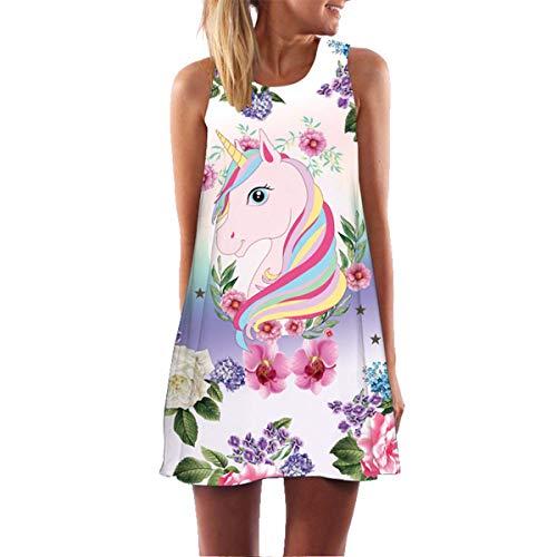 New Mini Summer Butterfly Unicorn Dress 2019 Sleeveless O Neck Loose Chiffon Shift Dress Women Holiday Vocation Boho Beach Dress Yellow XXL - Kleid Blue Shift Royal