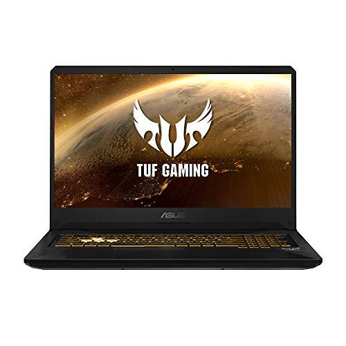 ASUS TUF Gaming FX705GM-EV020 - Ordenador portátil 17.3' FHD 144Hz (Intel Core i7-8750H, 16GB RAM, 1TB HDD + 256GB SSD, Nvidia GTX1060 6GB, sin sistema op.) Metal y Oro - Teclado QWERTY Español