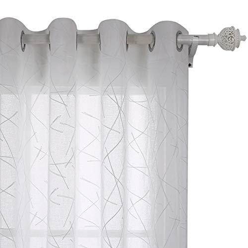 Deconovo Voile Gardinen mit Ösen Vorhang Transparent Gardinen mit Stickerei 175x10 cm Weiß Linie 2er Set